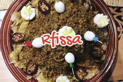 Chicken rfissa and quail eggs